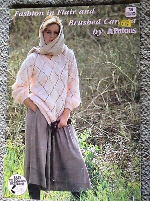 Vintage Patons Knitting Pattern Book 736 Fashion in Flair & Brushed Caressa