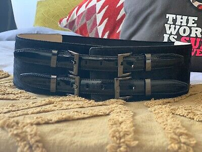 CUE wide black buckle leather belt NEW L