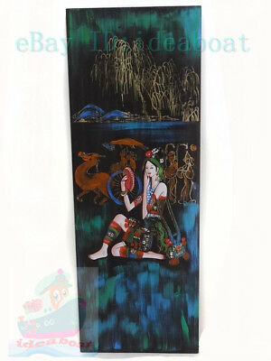 China Folk Art Hand Painted 78x28CM Wood Plank wall hanging decor- Copper Mirror