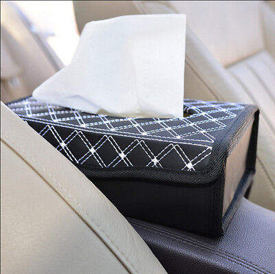 Grid Folded Paper Towel PU Leather Tissue Vehicle Car Seat Paper Tissue Box