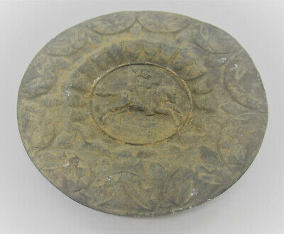 Circa 400Bce Ancient Persian Hand Beaten Silver Decorated Plate