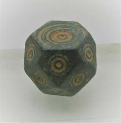 Ancient Byzantine Polygonal Solidus Barrel Weight With Ring And Dot Motifs