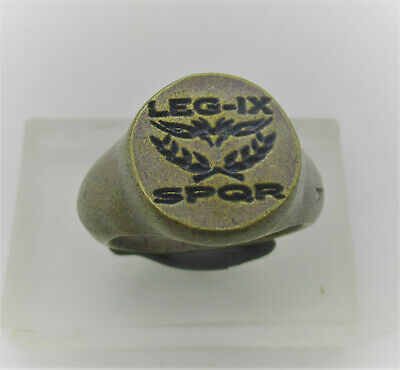 Scarce Ancient Roman Silvered Bronze Legionary Ring Aquilla Eagle Spqr