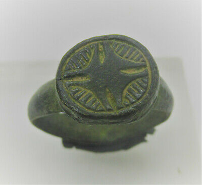 Superb Ancient Byzantine Bronze Crusaders Seal Ring With Star Motif