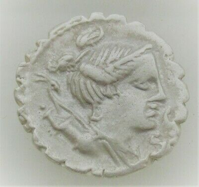Unresearched Ancient Roman Ar Silver Republican Denarius Coin