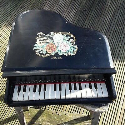 Unusual Black Vintage Wooden Shanghai Chinese Table Top Miniature Piano
