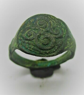 Detector Finds Ancient Viking Era Bronze Ring With Triskele Bezel Rare