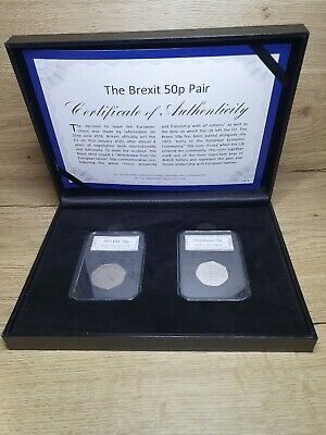 Brexit Official 2 Coin UK 50p Set 1973 EEC Entry and 2020 Withdrawal From EU