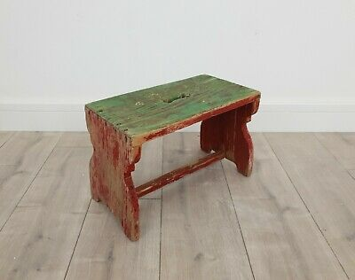 Hungarian Milking Stool with Original Paint Rustic Farmhouse Patina