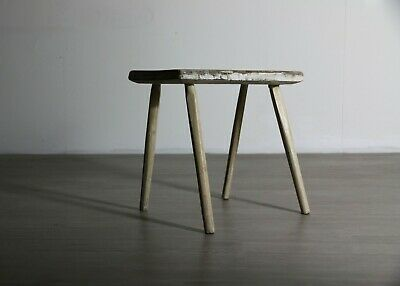 White Rustic Wooden Stool, Small, Elegant Rustic Farmhouse Patina