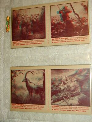 NABISCO - 1953 Wild Animal Show 3 Dimensional Pictures & Glasses - VGC
