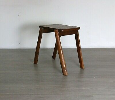 Antique French Stool Rustic Farmhouse Primitive Small Wood