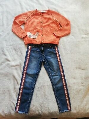 Next Girls Glitter Orange 🐦 bird Appliqué Cardigan 5-6yr GC and Next Jean EUC