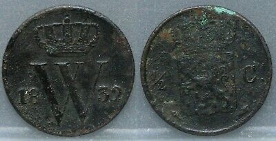 Nederland  The Netherlands - halve cent 1832 U - 1/2 cent 1832 U