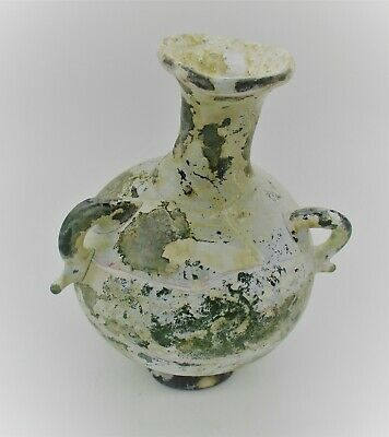 Ancient Roman Glass Green Three Handled Aryballos Vessel 100 - 300 Ad Europe