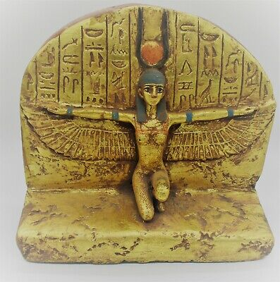 Scarce Ancient Egyptian Gold Gilded Stella Depicting Winged Isis W/Heiroglyphs