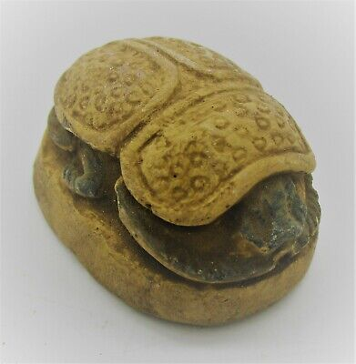 Ancient Egyptian Stone Scaraboid Seal With Heiroglyphs Ca 300Bce Rare
