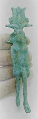 Circa 500 Bce Ancient Egyptian Bronze Standing Harpocrates Statuette