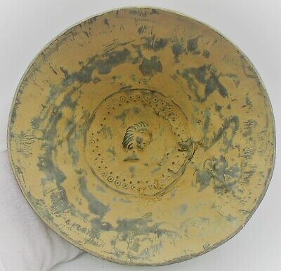 Beautiful Ancient Persian Hand Beaten Silver Decorated Bowl With Face Depiction