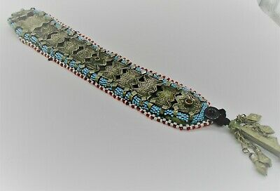 Beautiful Vintage Islamic Near Eastern Silvered Belt With Stone