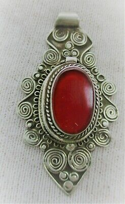 Beautiful Ancient Celtic Silver Pendant With Spirals And Red Stone
