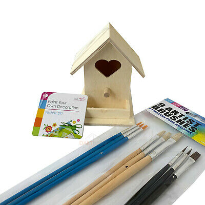 Kids Play Blank Wood Birdhouse Paint Your Own Nesting Box Art Craft Brushes Set