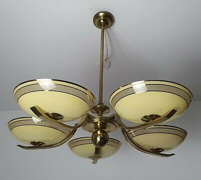 Art Deco Chandelier Vintage Messing brass lighting Kronleuchter Glasschalen