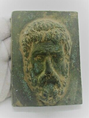 European Finds Ancient Roman Bronze Plaque With Biblical Male Face Impression