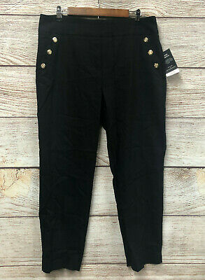 Counterparts Pants Womens Size 12 Black Sailor Button Super Stretch Ankle New