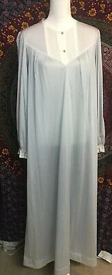 VTG Vanity Fair Satin Nightgown Blue Long Sleeved Fleece Lined Made In USA