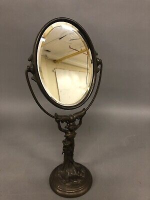 """Antique Cast Iron Victorian Beveled Shaving Mirror W/ Woman Stand 17 1/2"""""""