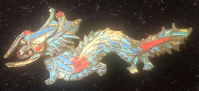 Antique Chinese Tian Tsui 2 3/4 Inch Dragon Pin - Kingfisher Feather Brooch