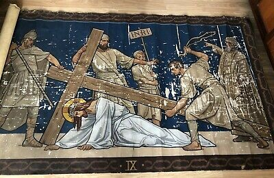 Large Antique Oil Paintings on Canvas 2 of the Stations of the Cross c1900s Old