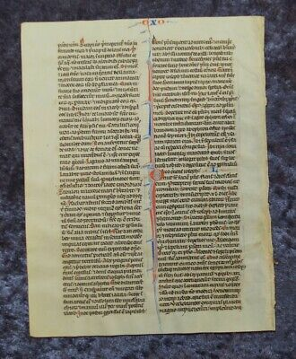 Dekoratives Grosses Pergament Bibel Blatt Handschrift Initialen Paris 1250 #C078