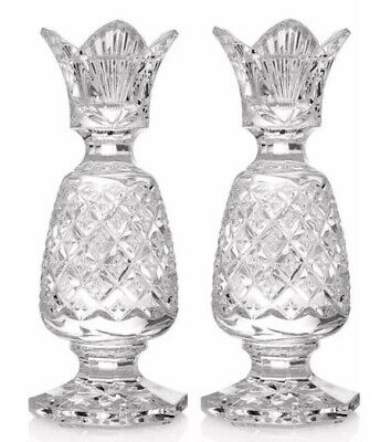 """2 Crystal Waterford Heavy Glass Candle Stick Holder 6"""" Ireland 109762 NEW"""