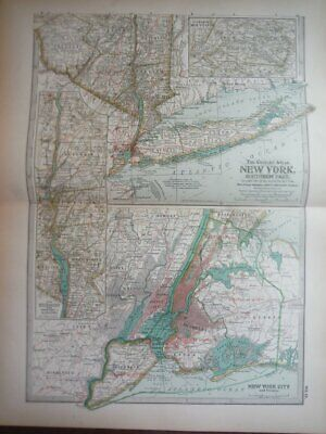The Century Atlas, Map of New York, Southern Part (1897)