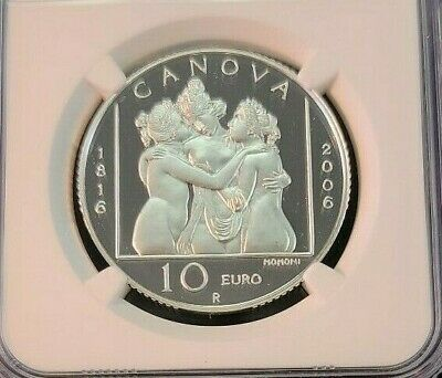2006 San Marino Silver 10 Euro S10E Three Graces Ngc Pf 69 Ultra Cameo Top Pop