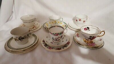 Vintage Mismatched China  x6 Tea Cup, Saucers and side plates (trios) Mix Match