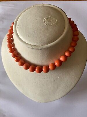 Antique Necklace Coral Original Carved Natural Beads 51.5g Silver Lock Chinese