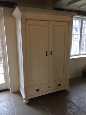Antique pine 'knock-down' wardrobe painted in 'Pointing', lightly distressed