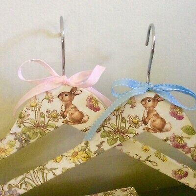 Easter gift idea - Trio of hand decorated  wooden coat hangers with bunnies