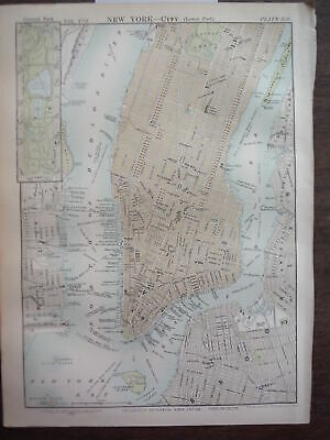 Antique Map of New York City (Lower Part) from Encyclopaedia Britannica,  Nint..