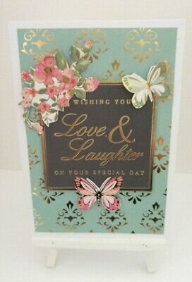Handmade Birthday Card: Love & Laughter (Floral Spray)