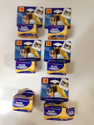 EXPIRED KODAK Elite Chrome 200 speed color slide film Lot Of 6 rolls