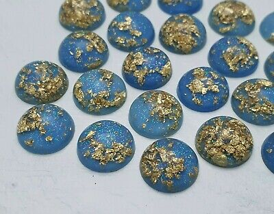 12mm Blue Gold Foil Cabochons Set of 10 Sparkly 12mm Resin Cabochons