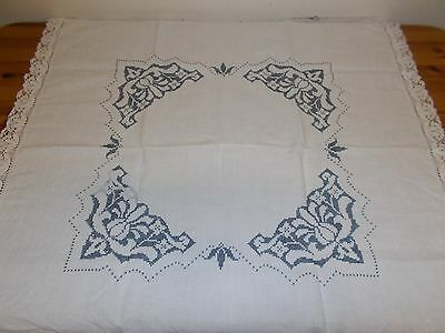 Vintage Hand Embroidered Table cloth with lace edge approx 90x90cm linen feel