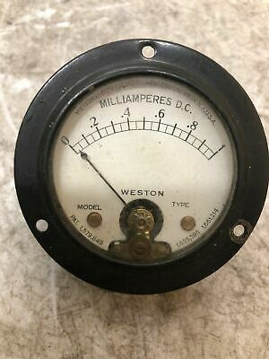 Vintage Panel Gauge DC Amperes 0-1 The Weston Electrical Meter Model 506 DIY OLD
