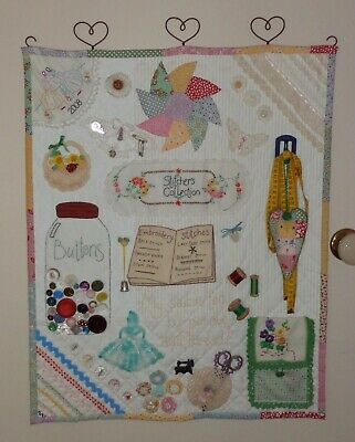 Handmade Sewing Wall Hanging Quilt/Patchwork-Vintage Doilies/Lace/Buttons/Trim