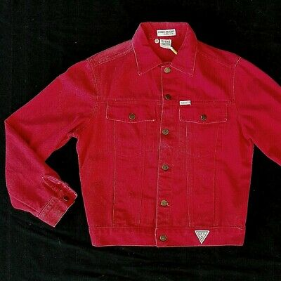 Vintage 90s Red Guess USA Georges Marciano Womens Denim Streetwear Jacket SMALL