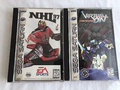 2x SEGA Saturn Games Virtual-ON and NHL 97 with Long Cases CIB